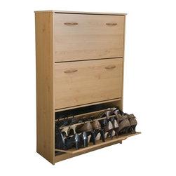 Venture Horizon - Oak Finish Triple-Stack Tiered Shoe Cabinet w Tilt ...