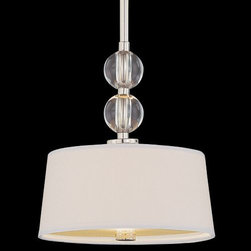Savoy House - Murren Mini Pendant by Savoy House - The Savoy House Murren Mini Pendant includes a hardback White fabric shade, clear globe accents and is finished in polished nickel. A fine choice for a variety of casual and mixed decors, adding a wonderful transition touch to kitchens (above islands, nooks) and dining rooms (spotlighting tables, sidebars). Savoy House, headquartered in Braselton, Georgia, celebrates the uniqueness of today's decor styles by designing and manufacturing an extensive selection of high-quality ceiling fans and lighting fixtures for discerning homeowners.