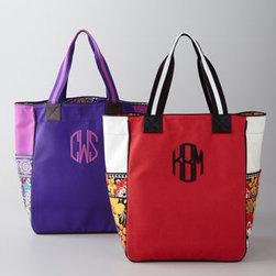 Vera Bradley - Vera Bradley Large Colorblock Tote, Monogrammed - Vera Bradley's vivid use of color adds a distinctive touch to your travel itinerary. Solid canvas and pretty prints pair up on monogrammed colorblock totes ideal for traveling and shopping alike. Made of canvas with faux-leather trim. Features two com...