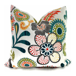 Orange Turquoise And Green Mod Floral Decorative Pillow Cover By PopOColor