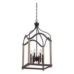 Quoizel - Quoizel Western Bronze Foyer/Hall Lanterns - SKU: BRG5206WT - Embracing a minimalist scheme, the Bordergate foyer piece will shine a new light in your home. The painted faux wood finish and brass accents enhance the overall construction of this simplistic design which is perfect with the Western Bronze finish.