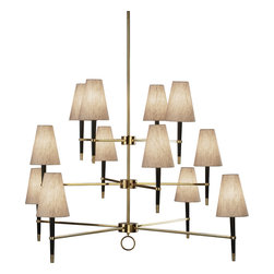 Robert Abbey - Jonathan Adler Ventana Chandelier - If your idea of elegance is a little more boardroom than ballroom, give this sleek modern chandelier a try. Dressed for success in chic, natural linen with black wood and bright metal accents, it looks stylishly urbane. The long, tapered stems underneath the shades make the lamps look buoyantly uplifted.