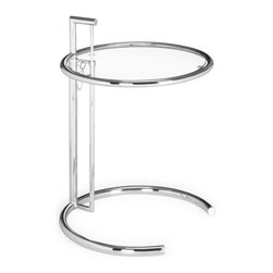 Modern Glass and Chrome Side Table Eileen - Contemporary side table EILEEN will be the perfect accent in your home or apartment. It has prevailing lines and shapes, that are clean and modern in their design. It is made of high quality chromed steel and clear tempered glass. This famous modern side table has an adjustable height adding some extra nice to have functionality.