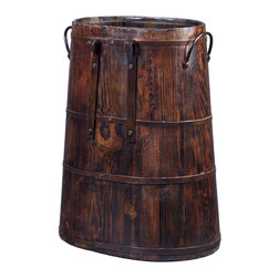 Antique Revival - Natural Vintage Wooden Charcoal Bucket - Handcrafted from natural elm and refinished with a distressed finish, these gorgeous vintage horse-pack barrels are an eye-catching decor piece. Whether placed by the door or in your living room for accent, these barrels will undoubtedly raise the aesthetics of your home to another level.