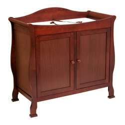 DaVinci - DaVinci Cherry 2-door Changing Table - Enhance your home decor with this elegant Park changing table. A practical and fashionable piece of furniture features a changing table on top with pad and safety strap for baby. This two-door dresser is perfect for the stylish, modern nursery