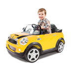 Aria Child Rollplay - Aria Child Rollplay Mini Cooper Battery Powered Riding Toy Multicolor - W446AC-Y - Shop for Tricycles and Riding Toys from Hayneedle.com! Nothing will make your mini-me feel macro quite like the Aria Child Rollplay Mini Cooper Battery Powered Ride-On Vehicle. Your kiddo's first car is never about mobility alone - style and imagination play more than a small part in the enjoyment. Your little one will love role playing in this rollplay ride-on vehicle. This battery-powered toy is license-designed to look just the big-kids' toys. More than just cool-looking however this level of detail is great for children's cognitive growth enabling them to really place themselves imaginatively in adult roles - an important part of understanding social constructions and interaction. And with a rechargeable 6V battery included your tot will be able to keep going for up to two hours at a time on one full charge. You'll love watching your kiddo zoom up and down sidewalks around the driveway and across playgrounds on their MINI Adventures almost as much as they'll love yelling behind them Let's motor. To keep your child safe and the vehicle operating properly keep it running on hard surfaces and off of streets grass dirt or gravel.Additional Features:Realistic horn and engine soundsWorking LED headlightsRubber traction strips on tiresOpening doorRealistic mirrors windows and dashboardAbout Aria ChildThe folks at Aria Child believe that recognizing quality engineering starts a young age. That's why Aria Child goes to great lengths to equip each of its riding toys with unmatched detail full of innovative features. Licensing with premium car companies like Volkswagen and BMW allows Aria Child to produce lifelike luxury vehicles that let your little one really feel like Mom or Dad driving down the street. Working horns doors headlights and more all build a sense of realistic imaginative play while engaging young minds in the appreciation of high-quality design. And bec