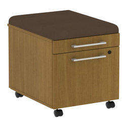 Bush - Bush 300 Series Mobile Pedestal in Modern Cherry and Cocoa - Bush - Commercial Grade Office - 300PM2BFMCCCK - Put all of the benefits of mobile storage to work immediately. Easy portability keeps extra space at your fingertip and fits under all 300 Series desks. Comfortable cushion conceals storage beneath. Single box drawer holds office or personal supplies. File drawer accommodates letter- legal- or A4-size files. Full-extension ball bearing slides provide easy access to back of drawers. Rolling casters provide smooth mobility even when loaded. Box Drawer extends on 3/4-extension ball bearing slides for convenient access. Total configuration flexibility lets you outfit any-size office space. Tough rugged work surface resists scratching stains dings and dents looking good for years. Includes BBF Limited Lifetime warranty.Note: Due to state regulations this product cannot be shipped to the state of California.