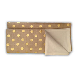 Metallic Gold Dot Burlap Table Runner by Sixty-One Twenty-Five - Use this simple table runner, some golden Christmas ornaments and a brass trivet to create a simple and festive tablescape.