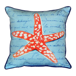 Betsy Drake - Coral Starfish Blue Script Indoor-Outdoor Pillow - Use indoors or outdoors.  Great addition to your beach house patio.  Coral and blue colors are going with the latest trends.  Tough, durable and fade resistant.  Spot clean or machine wash.