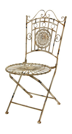 Oriental Furniture - Wrought Iron Garden Chair - Distressed White - For a fashionable shabby-chic accent in your home or garden, look no further than this stylish garden chair! Cast from wrought iron and distressed by hand to create a unique, one-of-a-kind antiqued appearance, this chair is the perfect way to bring some heritage charm to your decor. The graceful wrought iron seat is springy and comfortable and features a sunburst design, while the back is ornamented with a floral medallion. Lightweight and easy to fold for moving and storage, this beautiful chair will look stunning in the living room, patio, or lawn!