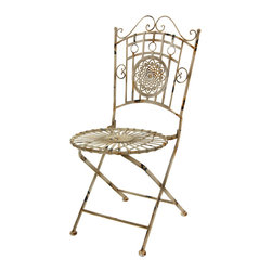 Oriental Furniture - Wrought Iron Garden Chair, Distressed White - For a fashionable shabby-chic accent in your home or garden, look no further than this stylish garden chair! Cast from wrought iron and distressed by hand to create a unique, one-of-a-kind antiqued appearance, this chair is the perfect way to bring some heritage charm to your decor. The graceful wrought iron seat is springy and comfortable and features a sunburst design, while the back is ornamented with a floral medallion. Lightweight and easy to fold for moving and storage, this beautiful chair will look stunning in the living room, patio, or lawn!