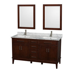 "Wyndham Collection - Hatton 60"" Dark Chestnut Double Vanity w/ White Carrera Marble Top & Square Sink - Bring a feeling of texture and depth to your bath with the gorgeous Hatton vanity series - hand finished in warm shades of Dark or Light Chestnut, with brushed chrome or optional antique bronze accents. A contemporary classic for the most discerning of customers. Available in multiple sizes and finishes."
