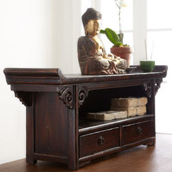 """Horchow - Antique Small Altar Table - Low altar table features upturned ends and carved spandrels along the apron; two drawers offer a convenient spot for storage. Imported. Handcrafted of pine, ash, poplar, and elm; hand painted. Each will vary; please let us choose. Approximately 36""""W...."""