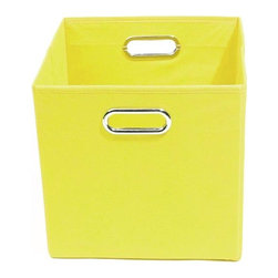 Modern Littles - Sweets Solid Yellow Folding Storage Bin - Pack 'em up! Your kids will love to keep their toys in this fun, colorful storage bin. It easily slides under beds or cribs and folds flat for easy storage.