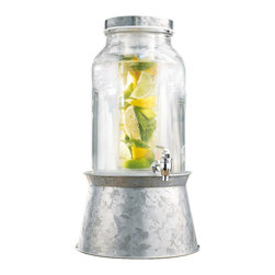 Home Essentials - Cylinder Glass Drink Dispenser with Infuser and Galvanized Metal Base - If you crave the refreshing taste of fruit infused water or lemonade, the cylinder glass drink dispenser will be the perfect drinking vessel! Our high quality drink dispenser features a charming vintage look and is composed of clear glass to easily view the available beverage. With this nostalgic piece, you can easily turn backyard barbecues, picnics, and dinner parties into long-lasting memories. Its attractive galvanized metal stand conveniently converts to an ice and wine bucket, and elevated the mason jar for easy serving and entertaining. So, treat yourself to a refreshing pick-me up of lemon and mint, or a splash of summertime with strawberries and blueberries!   * Capacity: 1.5 gallons  * Metal stand converts to ice and wine bucket