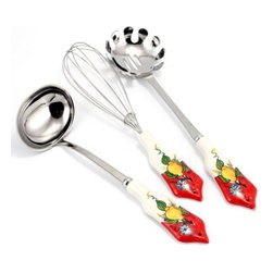 Artistica - Hand Made in Italy - LIMONE FIORE: Pre-Pack - Laddle + Whisk + Spaghetti Spoon (3 Pcs) with LEMON RED - Our all new and exclusive Limone Fiore collection was inspired by the renowned Amalfi Coast lemons...
