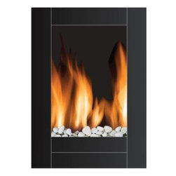 Frigidaire - Monaco Wall-Hung LED Fireplace - Remote Ctrl, 2 levels-1500W/750W, 110v - Frigidaire's MWF-10304 Monaco Vertical Wall-Mounted LED Fireplace adds instant warmth and a modern style to your living space. This elegant tall screen electric fireplace has dual heat settings, adjustable flame brightness, and comes with real pebbles to compliment the realistic flame effect. You can continue enjoying the beauty and glow of the flames even when you don't need the heat. The flat, heat-resistant tempered-glass panel and built-in automatic overheat protection combines beauty with safety. It includes mounting hardware to mount safely on virtually any wall, while it's remote control let's you easily control this masterpiece from your bed or couch. This elite and stylishly designed fireplace is simply fascinating and transforms any area into a luxurious getaway.Vertical wall-mounted electric fireplace heats up to 400 sq. ft.|Dual heat settings: Low (750 Watts/2500 BTU) and High (1500 Watts/5000 BTU)|Built-in overheat protection with auto safety shut-off|Real pebbles compliment realistic LED flame effect|Full-function remote control operates the unit from across the room|Flames operate with and without heat|Flames include adjustable brightness|Flames do not include realistic crackling sound|Flat, heat-resistant tempered-glass panel|Wall mounting hardware included|  frigidaire| mwf-1034| mwf1034| fireplace| fire| place| electric| electric fireplace| electric fire| flame effect| led flame| led| wall mount| wall mounting| wal hanging| vertical| remote heater| space heater| black  Package Contents: fireplace|remote control|pebbles|wall-mounting hardware|manual|warranty  This item cannot be shipped to APO/FPO addresses