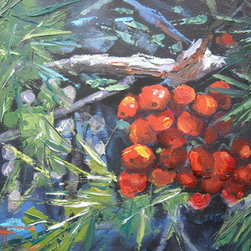 Winter Berries (Original) by Carol Schiff - I was hiking in the Blue Ridge Mountains when I found these beautiful berries on a tree.  The birds were feasting nearby.