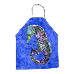Caroline's Treasures - Seahorse Apron 8639APRON - Apron, Bib Style, 27 in H x 31 in W; 100 percent  Ultra Spun Poly, White, braided nylon tie straps, sewn cloth neckband. These bib style aprons are not just for cooking - they are also great for cleaning, gardening, art projects, and other activities, too!