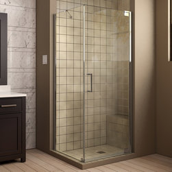 "Dreamline - Elegance 34"" x 32"" Frameless Pivot Shower Enclosure, Clear 3/8"" Glass Shower - The Elegance shower enclosure combines clean minimal styling with exceptional quality. Opulent 3/8 in. thick tempered glass and a fluid frameless design create a prefect mix of strength and beauty. The corner installation maximizes space and becomes the heart of a bathroom design, while minimal hardware generates an open and airy appeal."