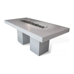 Cubik Concrete Table - Think big with this concrete and stainless steel dining table that's a design statement indoors or out. Its lightweight concrete top sits on a base of two stainless steel legs, but the element I love most is the center well that can hold river stones or plants or — get creative!