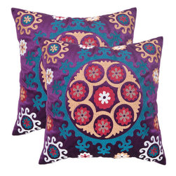 Safavieh Home Furniture - Vanessa 22-Inch Gold and Purples Decorative Pillows - Set of Two - - Inspired by the Uzbek needlework of Suzani textiles, this folkloricdesing features bold jewel-toned blues and fuchsias embroidered in petite crewel stitchery on a ground of linen and cotton.  - Please note this item has a 30-day manufacturer's limited warranty that covers product defects. Inspect your purchase upon delivery and notify us immediately with any concerns. Safavieh Home Furniture - PIL164A-2222-SET2