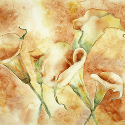 Golden Calla Lilies (Original) by Joyce Ann Burton-Sousa - The medium is watercolor. I use Arches cold pressed 100% cotton paper, and the dimensions of the original painting are 14 1/4 inches x 20 inches.