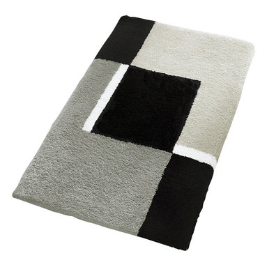 """Extra Large / Oversized Bath Rug Design in Grey (27.6"""" x 47.2"""") - Oversized stylish grey bathroom rugs are hard to find.  Our extra large grey bathroom rug is a bold contemporary design of grey, black and white with a non-slip / non-skid backing.  Perfect for any bathroom."""