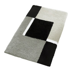 "Extra Large / Oversized Bath Rug Design in Grey (27.6"" x 47.2"") - Oversized stylish grey bathroom rugs are hard to find.  Our extra large grey bathroom rug is a bold contemporary design of grey, black and white with a non-slip / non-skid backing.  Perfect for any bathroom."