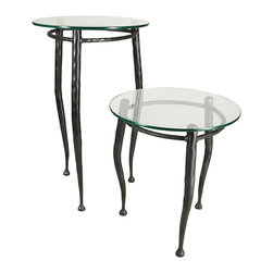 """Form & Reform - Pan Occasional Table 30"""" - Just right for any room in your home, this quirky little occasional table boasts a round glass top and shaped, hammered-steel legs. It's available in two sizes."""