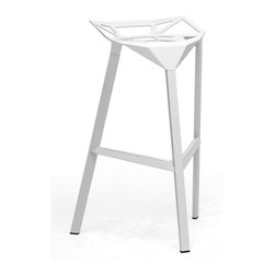 Baxton Studio - Baxton Studio Kaysa White Aluminum Modern Bar Stool (Set of 2) - Modern, futuristic, industrial ?C this bar stool fits into all of these categories with an equal amount of ease.  The versatile Kaysa bar stool is the bare minimum of a stool in its form but though only a basic frame, it still manages to delight.  The fully-assembled aluminum frame with white coating and non-marking feet is suitable for both indoor and outdoor use.  You will love the fact that this is a stackable design, making it especially convenient as a restaurant bar stool or commercial bar stool.  This modern barstool is made in China and is fully assembled.  It is also available in red or white and is also offered as a black dining chair (each sold separately). Dimensions: 32.5 inches high x 16 inches wide x 13.375 inches deep , seat height 31.75inches