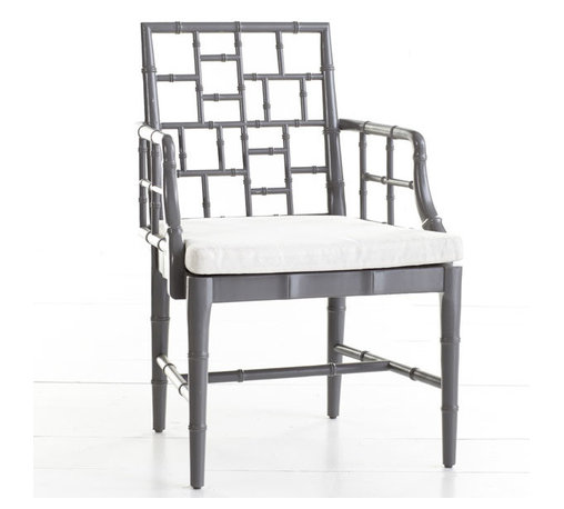 Chinese Chippendale Chair, Slate Gray - Use these Chinese Chippendale chairs in an elegant slate gray in the dining room, living room or home office.