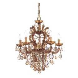 Crystorama - Maria Theresa 6-Light Interior Chandelier - Classic Maria Theresa design styles with a modern twist. For centuries, Maria Theresa style of crystal chandeliers have been a sign of wealth, style and class. In keeping with the time honored traditions of our European artisans, Crystorama's Maria Theresa.