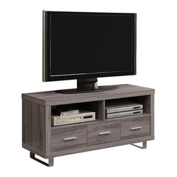 "Monarch Specialties - Monarch Specialties 3250 TV Console in Dark Taupe - This contemporary TV console finished in a dark taupe reclaimed wood-look features thick panels and modern metal accent legs. The sleek profile of this stand will perfectly compliment all the newest flat screen TV's and components (up to 50""). Features three spacious storage drawers, two open storage shelves and integrated wire management system."