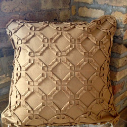 Wool Geometric Cut Pillow - hand made: hand cut, fabric manipulated