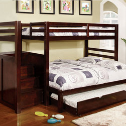 None - Pine Ridge Espresso Bunk Bed with Drawers and Steps - This cool space saving Twin over Twin / Twin over Full bunk bed offers a great value. A full staircase leads to the upper bunk,while storage drawers are built in under the staircase for efficiency.