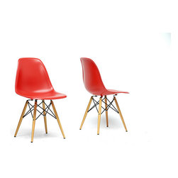 Baxton Studio - Azzo Red Plastic Mid-Century Modern Shell Chair (Set of 2) - The retro simplicity of these classic red modern shell chairs will instantly enhance the modernity of your room. Each of these mid-century modern dining chairs is made from durable molded plastic with an ergonomically-shaped and curved seat.