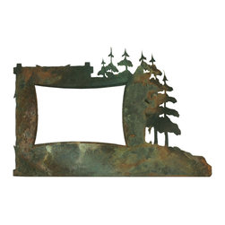Ironwood - Pine Tree Rustic Iron Picture Frame With Copper Verdigris Patina, 4x6 - Here's  a  rustic  picture  frame  that  can  hold  its  own  against  even  the  most  unique  designer  frames.  Crafted  from  wrought  iron  with  a  copper-verdigris  finish,  this  beautiful  4x6  iron  picture  frame  is  a  unique  addition  to  any  decor.  Features  pine  tree  motif.  For  tabletop  display  only.