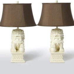 Pair of Barbara Cosgrove Foo Dogs Table Lamps - Just change the shades to black on these adorable Foo dog lamps. I will always love Foo dogs!