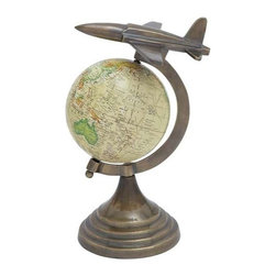 "Benzara - Globe with Sturdy Round Base and Aircraft On Top - Globe with Sturdy Round Base and Aircraft on Top. Furnish your modern home settings with 11"" H Aluminum Globe with Sturdy Round base and Aircraft on Top. It comes with following dimensions 8"" W x 8"" D x 11"" H."