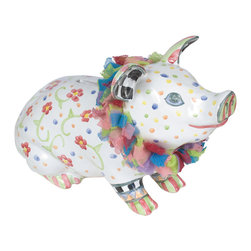 Piggy Bank | MacKenzie-Childs - Peppered with posies and polka dots, this plucky piggy is quite the ham, from her tulle collar down to her painted toes. Whether she's helping your little ones (or your not-so-little ones) learn fiscal responsibility or safeguarding your pennies for some rainy day fun, this adorable pet earns her keep with smiles to spare. Hand-raised on our farm in Aurora, we've made sure to include a cork stopper to ensure that breaking the bank remains a figure of speech. Watch this coin-hungry hog put the fun back into your funds.