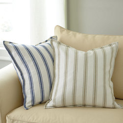 "Ballard Designs - Campbell Stripe Pillow - Available in 2 colors. Plush feather down insert. Our 20"" Square Campbell Stripe Pillow has the casual look of a classic ticking stripe, but bolder for big color impact. It's hand finished in soft, 100% cotton with pattern on both sides, hidden zipper and knife-edge. Campbell Stripe Pillow features: . ."
