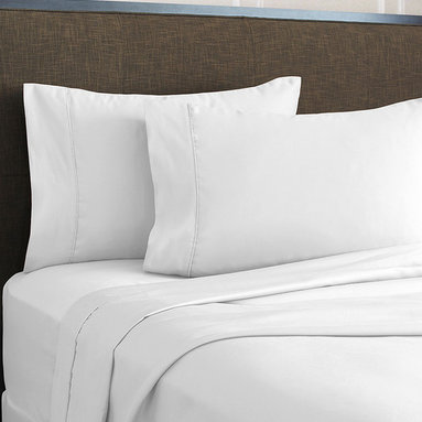 SNS LINENS INC - White 620-Thread Count Egyptian Cotton Deep-Pocket Sheet Set - Wrinkle-free fabric maintains its elegance, while smooth, Egyptian cotton-blend construction provides inviting comfort. �� Includes flat sheet, fitted sheet and two pillowcases Fits mattresses up to 18'' deep 55% cotton / 45% polyester 620-thread count Machine wash; tumble dry Imported