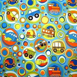 "SheetWorld - SheetWorld Round Crib Sheets - Transportation Bubbles Blue - Made in USA - This luxurious 100% cotton ""woven"" round crib sheet features transportation vehicles such as trains, planes, trucks and bicycles in bright colored bubbles on a blue colored background. Our sheets are made of the highest quality fabric that's measured at a 280 tc. That means these sheets are soft and durable. Sheets are made with deep pockets and are elasticized around the entire edge which prevents it from slipping off the mattress, thereby keeping your baby safe. These sheets are so durable that they will last all through your baby's growing years. We're called SheetWorld because we produce the highest grade sheets on the market today."