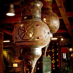 Beautiful Exotic pendant lights - Large aged brass applique pendant light.