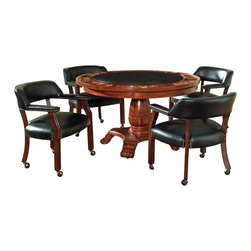 Steve Silver - Steve Silver Tournament 5 Piece 50 Inch Round Game Table Set w/ Black Chairs - The Classic Cherry Gaming Table Set has an attractive Cherry finish that will make a lovely addition to your home bar, billiards room or game room. Features include highly detailed woodworking and intricate carvings. Each of the matching chairs features detailed craftsmanship, casters which provide mobility, comfortable padded seats and backs that have decorative nail head trim and are upholstered in a durable leather that is easily cleaned. The Game table top includes poker chip and drink holders with an upholstered top for playing the ultimate games. What's included: Game Table (1), Game Chair (4).