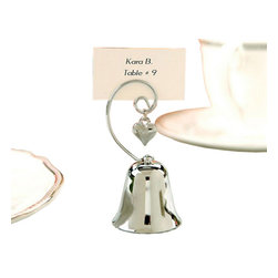 "Handcrafted Model Ships - Chrome Bell with Dangling Heart Charm Placecard and Photo Holder 3.5"" - Set of 4 - Let beautiful bells ring throughout your event with this charmed and charming bell place card/photo holder! What a resounding way to say ""thank you"" to all of your guests!"