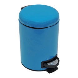Metal Step Trash Can 3-Liter/0.8-Gal- Solid Peacock Blue - This step trash can is metal and features a lovely solid peacock blue color for both the can and the lid. This round shaped trash can brings a playful and contemporary touch to your bathroom and fits easily in rooms with limited Space. It offers a removable inner bucket for an easy bag change and has a non-skid rubber pad base. The durable pedal is designed to last through heavy use. This trash can adds a modern accent to any bathroom or under a desk with its capacity of 3-Liter/0.8-Gal. Diameter of 6.69-Inch and height of 9.84-Inch. Wipe clean. Color solid peacock blue. Complete your decoration with other products of the same collection. Imported.