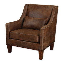 Uttermost - Uttermost 23030 Clay Leather Armchair - Uttermost 23030 Clay Leather Armchair