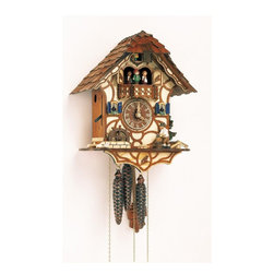 Schneider Cuckoo Clocks - 1-Day Black Forest House Cuckoo Clock w 2 Melodies - 1-day rack strike movement. Individual hand-laid shingles. Moving wood chopper and water wheel move at half hour and full hour. New wooden dial with roman numerals and hands. Shut-off lever on left side of case silences strike, call and music. Wooden cuckoo calls and strikes every half and full hour. 2.22 music on the half and full hour. Solid wood hand crafted and painted four brown dancing figurines. Made from wood. Antique finish. Made in Germany. 10 in. W x 7.9 in. D x 13 in. H. Care Instructions